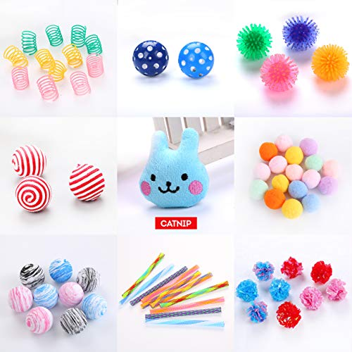 Cowfish Cat Toys Kitten Toys Assortments, 27PCS Variety Toy Set Including Cat Feather Teaser Wand, Feather Toys, Mice, Catnip Toys, Colorful Balls, Bells for Cat, Kitty, Kitten 10