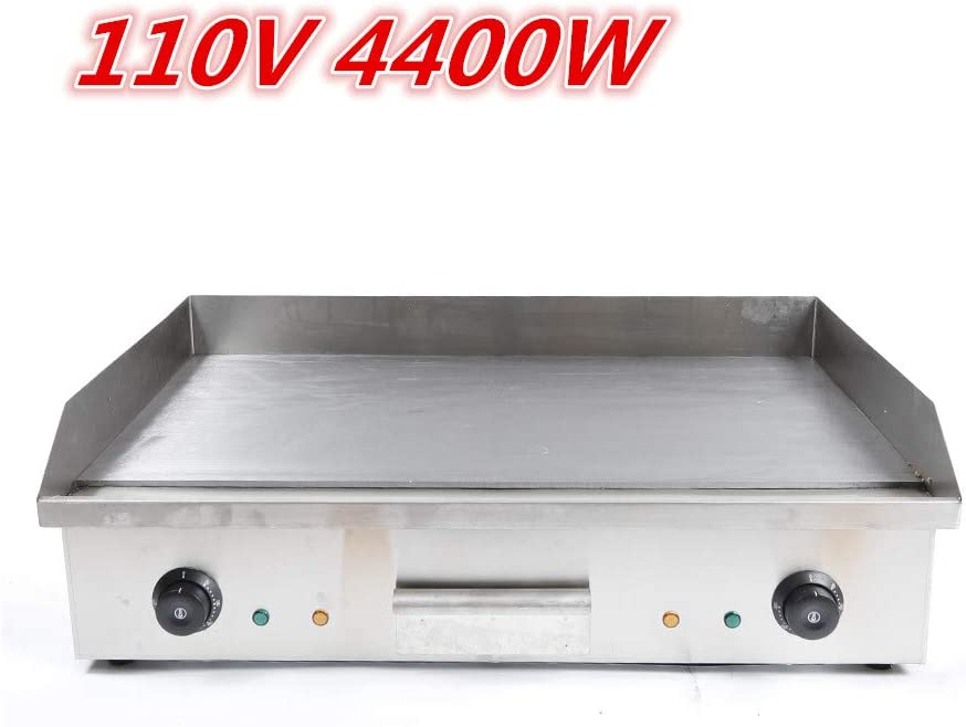 HYYKJ Electric Tabletop Griddle Grill 110V Restaurant Countertop Flat Grill Stainless Steel Adjustable Temperture Control for Commercial Outdoor Cooking BBQ (110V 4400W)