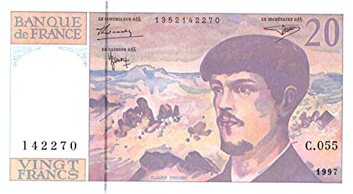 1997 FR FRANCE 20 FRANC BILL w COMPOSER CLAUDE DEBUSSY/DANCING WAVES! OUT OF PRINT OVER 20 YEARS YET PRSTINE! 20 Francs Gem Crisp Uncirculated