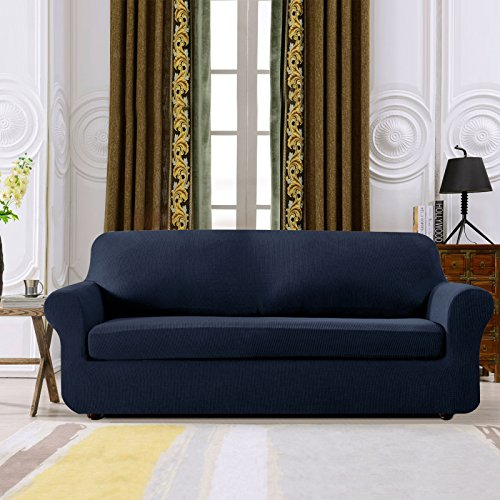 Subrtex Spandex Stretch 2-Piece Slipcover (Sofa, Navy)