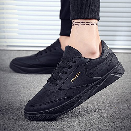 Bovake Casual Sneakers Shoes, Men's Autumn Casual Travel Shoes Running Lace-up Sport Shoes - Gym Running Jogging Trainers Fitness Lightweight Shoes Black
