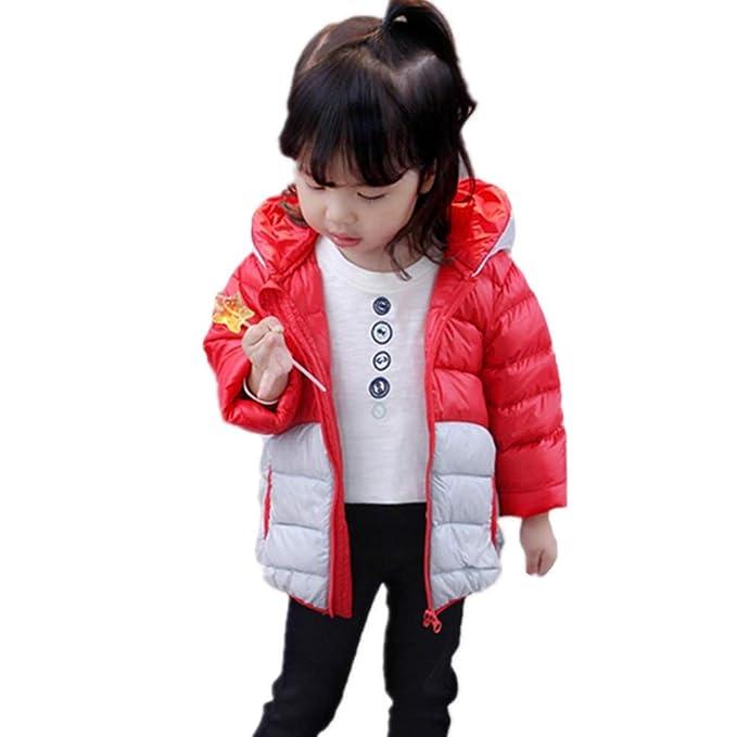SIMPLE-H Niños Niñas Invierno Unisex Abajo Chaqueta de Dibujos Animados Con Capucha Outwear Cálido Abrigo de Cazador de Viento de dos colores de costura ...