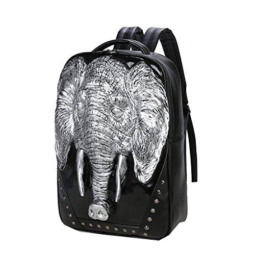Yy.f Mochila Elefante 3d Los Estudiantes Calculador Del Libro Señora Masculina Pu Bolsa Grande De Viaje Paquete De Diseño Multicolor Silver