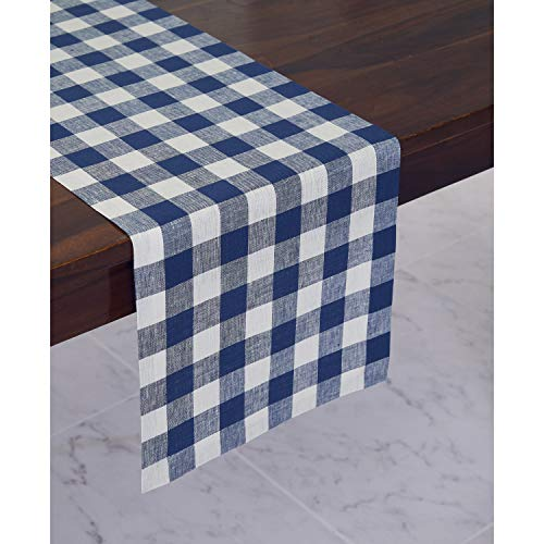 Solino Home 100% Pure Linen Checks Table Runner - Blue & White Check Table Runner - 14 x 72 Inch Runner for Dinner, Indoor and Outdoor Use -