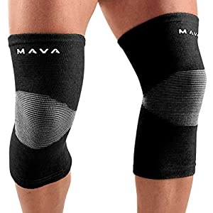 Mava Sports Knee Support Sleeves (Pair) (Black, XX-Large)