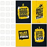 Matching Set Of Four 11X17 Inspirational & Motivational Fitness Art Prints – Inspiring Gym Quotes and Workout Wall Art with Included Double Sided Mounting Tape – Tough Edition!