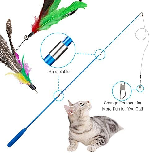 JIARON Feather Teaser Cat Toy, 2PCS Retractable Cat Wand Toys and 10PCS Replacement Teaser with Bell Refills, Interactive Catcher Teaser and Funny Exercise for Kitten or Cats. 4