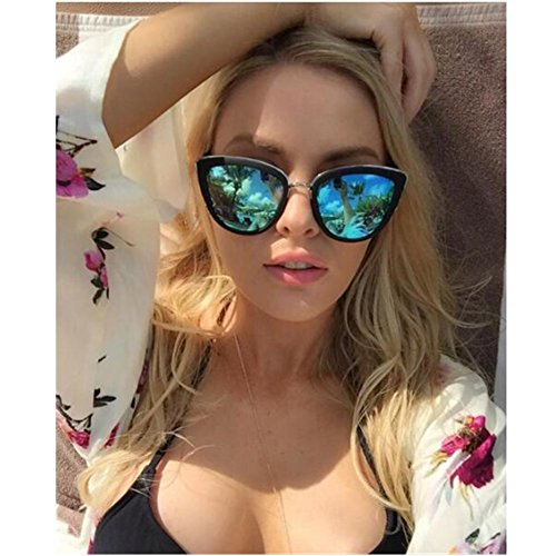 VIVIENFANG My Girl Women's Blue Mirrored Cateye Sunglasses Oversize Polarized Shades P1891A - Sunglasses Mirrored Polarized
