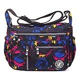 ABLE Waterproof Shoulder Bag Messenger Crossbody Bags Multi-functional pocket (01-Black2)