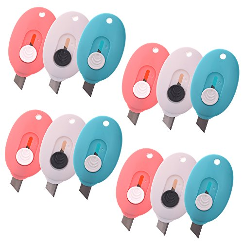 - COSMOS Pack of 12 Mini Retractable Utility Knife Box Cutter Letter Opener, Random Color