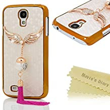 Galaxy S4 Case - Mavis's Diary® 3D Handmade Bling Crystal Golden Wings with Big Pearl Tassel Sparkle Diamonds White PU Leather Honeycomb Pattern Design Luxury Hard PC Cover For Samsung Galaxy S4 9500