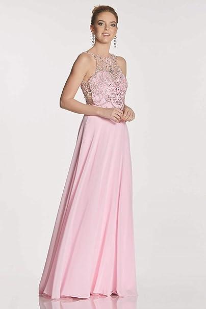 Tiffanys Illusion Prom Navy Rosalie Beaded Bodice Chiffon Dress: Amazon.co.uk: Clothing