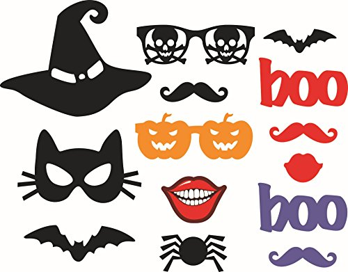 Halloween Photo Booth Props, LASLU 14pcs Halloween Props Kit Halloween Masks HAPPY HALLOWEEN Party Supplies. (Cute Halloween Photos)