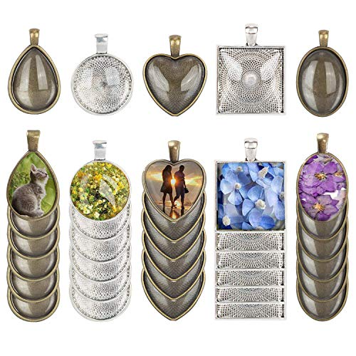 5 Styles Pendant Trays,Fashionclubs 30pcs Pendant Bezel Trays with 30pcs Glass Cabochon,Pendant Blanks Round Square Heart Teardrop Oval Vintage Cabochons Trays for Photo Jewelry DIY Crafting