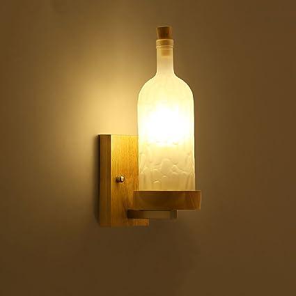 Crayom Lámpara de Pared de Madera sólida Japonesa de Las Botellas de Cristal de la lámpara