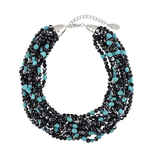 (Bocar Multiple Strand Turquoise Acrylic Beaded Statement Collar Necklace for Women (NK-10545-black))