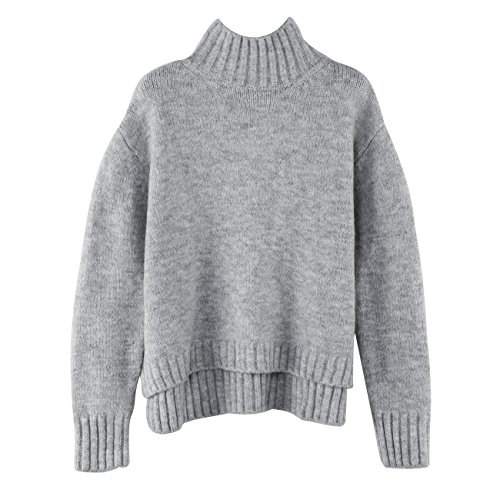Crew Ribbed Sweater (DASHENG Women's Crew Neck Ribbed Pullover Drop Shoulder Knitted Basic Sweater)
