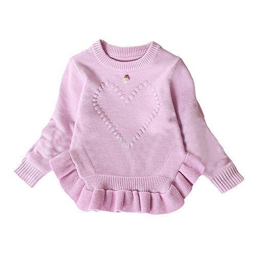 Toddler Baby Girl Cotton-Wool Knit Pullover Sweater Kid Sweatshirt purple 110