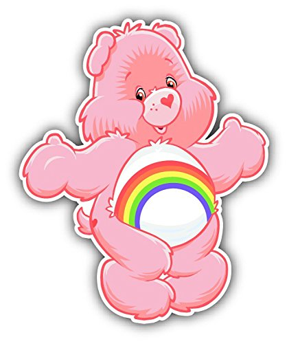 care-bears-cheer-cartoon-pink-car-bumper-sticker-decal-4-x-5