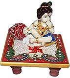 Fashion Bizz White Marble Chowki Ladoo Gopal Idol