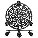 Skelang Cast Iron Plant Stand, Planter Casters with Lock Wheel, Plant Pallet Caddy, Plant Pot Dolly, Rolling Tray, Moving Plant Pot Saucer, Diameter