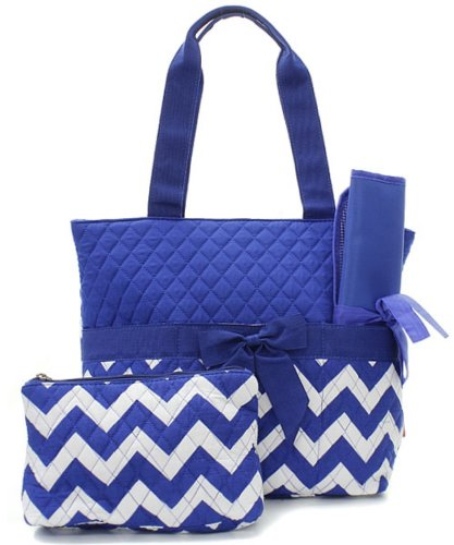 Quilted Royal Blue And White Chevron Print Monogrammable 3 Piece Diaper Bag With Changing Pad Tote Bag