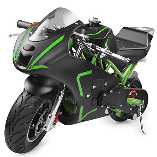 XtremepowerUS 40cc 4-Stroke Gas-Powered Mini Pocket Motorcycle Ride-on Padded Seat EPA Approved, Green
