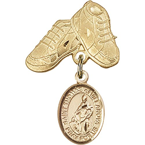 14kt Yellow Gold Baby Badge with St. Thomas of Villanova Charm and Baby Boots Pin 1 X 5/8 inches by Unknown