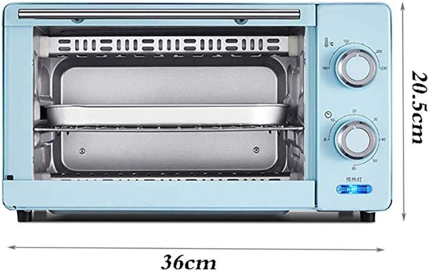 11L Mini Horno Doble Asa A Neto Y El Tiempo De 60 Minutos, Incluyendo Bandeja De Escoria Separada De 8 Pulgadas Torta De Gasa / 8 Alas De Pollo / / Pastelería/Pizza,Azul Blue