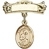 Gold Filled Baby Badge with St. Isaac Jogues Charm and Arched Polished Badge Pin 7/8 X 3/4 inches