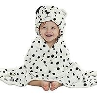 Toshibon 0-3 years old Baby boy or girl kid Bathrobe Towel Cloak with cute animal hood super soft and comfortable (white)