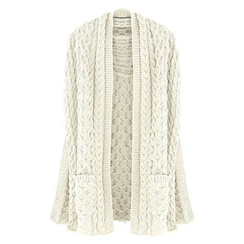 Aran Traditions Cream White Cable Pocket Scarf Shawl