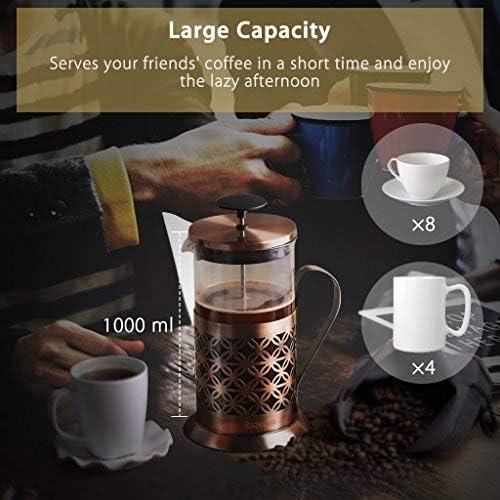 RACKAPHILE 1L French Press Kaffeebereiter Filtersystem Eistee Kaffeetassen Neu