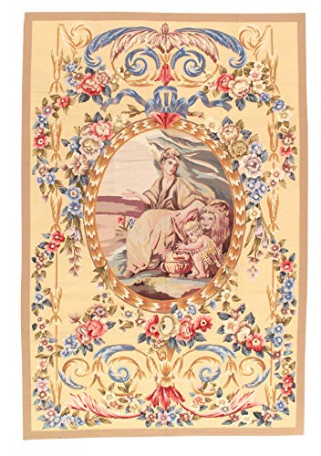 Pasargad DC Modern Aubusson Rugs - 6' x 9',Gold,chaina