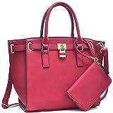 MMK collection Fashion Handbag (6750/6487)~Packlock Handbag for Women` Signature fashion Designer Purse~ Perfect Beautiful Designer Purse & Women Satchel Purse (03-6487 RED)