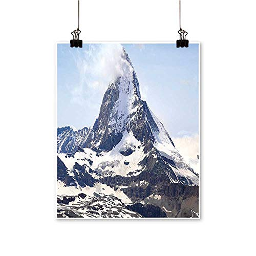 - Single paintingMatterhorn Summit with Cloud Mountain Scenery Glacier Natural Beauty Blue White Black Office Decorations,20