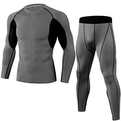 2Pcs Men Tracksuit Elastic Casual Fitness T-Shirt Fast Drying Tops Pants Sports Tight Suit 2020