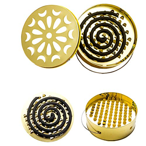 Tpingfe Mosquito Coil Holder, Stainless Steel Tray Fireproof Mosquito Repellent Plate Easy Portable Mosquito Repellent Sandalwood Incense Coil Burner (Gold)