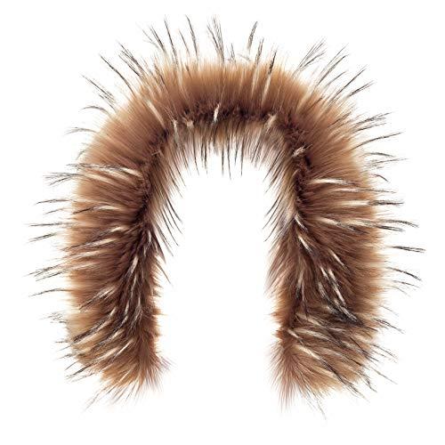 aux Fake Fur Hood Winter for Jacket Ski Collar Wrap Shawl (L, Chocolate Raccoon Dog) ()