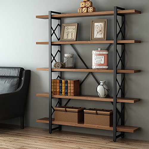 LITTLE TREE Solid Wood 5-Tier Shelf Industrial Rustic Style Bookcase and Book Shelves, Metal and Wood Free Vintage Standing Storage Shelf Units, Antique Nutmeg