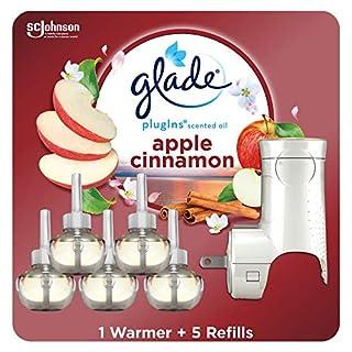 Glade PlugIns Refills Air Freshener Starter Kit, Scented Oil for Home and Bathroom, Apple Cinnamon, 3.35 Fl Oz, 1 Warmer + 5 Refills