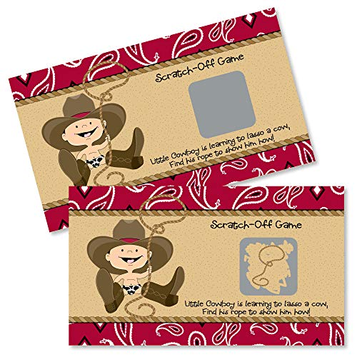 Big Dot of Happiness Little Cowboy - Western Baby Shower or Birthday Party Game Scratch Off Cards - 22 Count