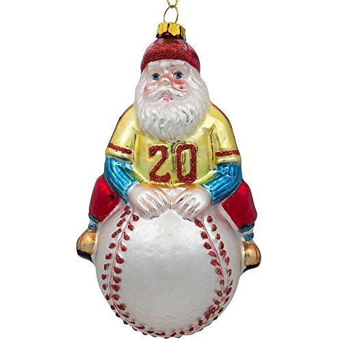BestPysanky Santa Baseball Player Glass Christmas Ornament 5 Inches