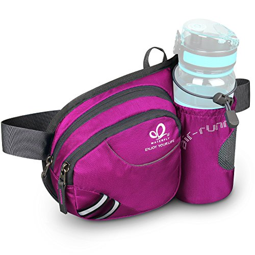 Review WATERFLY Hiking Waist Bag Can Hold iPhone6 Plus 5.5 inch Gear with Water Bottle Holder/Funny Running Belt Bum Bag for Ridding Dog Walking