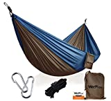 Features:  1. The outdoor camping hammock with upgraded carabiners, which is made of galvanized stainless - steel material, widened diameter is up to 0.35in. Bigger and more durable.  2. Braided nylon rope recognized by UIAA, the extended diameter is...