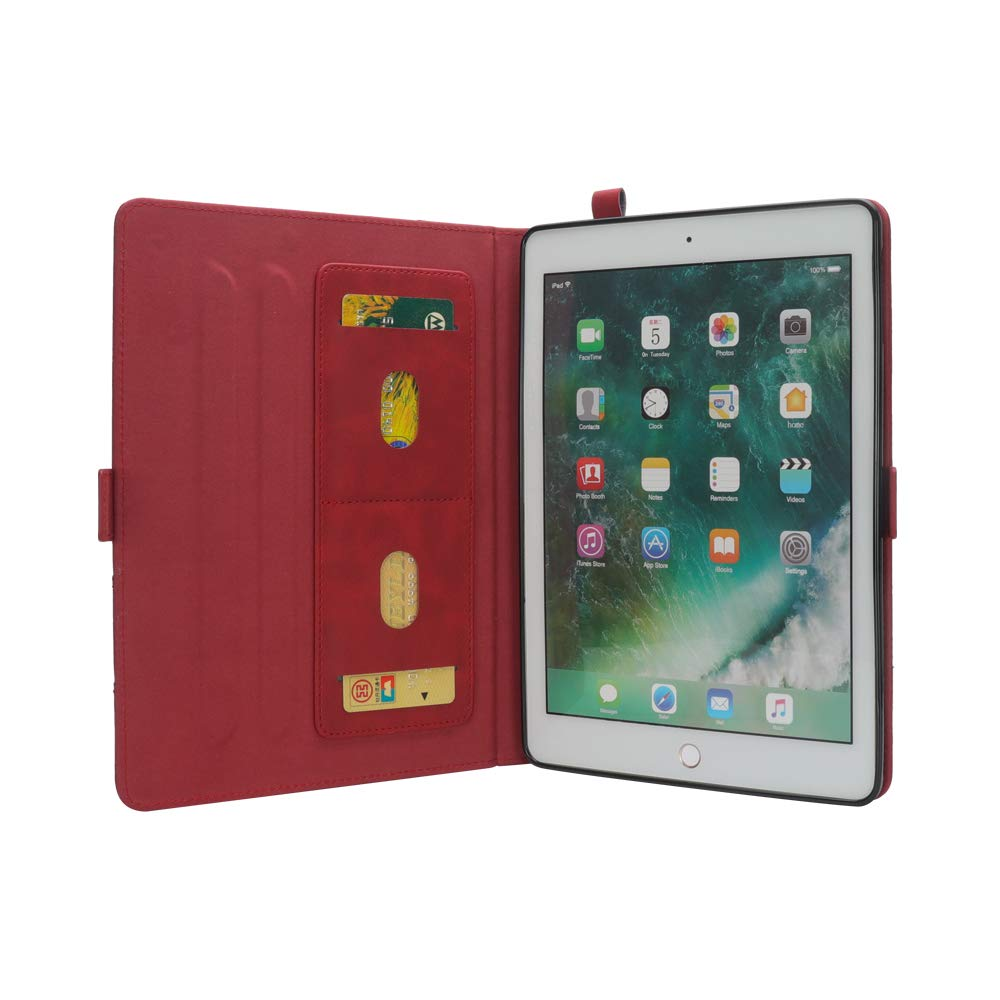 iPad 10.5 Air 3rd Generation Case, taStone Premium PU Leather Business Folio Cover Stand Case with Card Holder Auto Wake/Sleep Document Pocket for iPad Air 3rd Gen 2019 / iPad Pro 10.5'',Red by US taStone (Image #2)