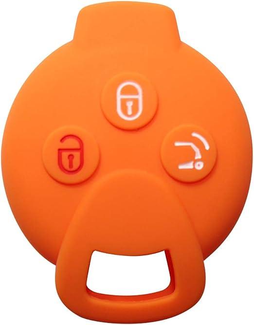 Ylc Silikon Auto Schlüssel Schutz Fall Schlüsselhülle Key Cover Für Smart 451 Fortwo Forfour Roadster 3 Knöpfe Schlüssel Orange Auto