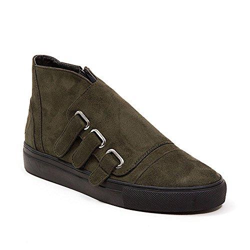French Blu Womens Jezel Faux Suede Velcro Fashion Sneaker Olive rWqTmy