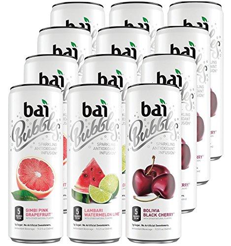 Bai Bubbles (12 Pack) Vegan, Gluten Free, Kosher, Non-GMO Antioxidant Sparkling Water (Black Cherry, Watermelon Lime and Pink Grapefruit)