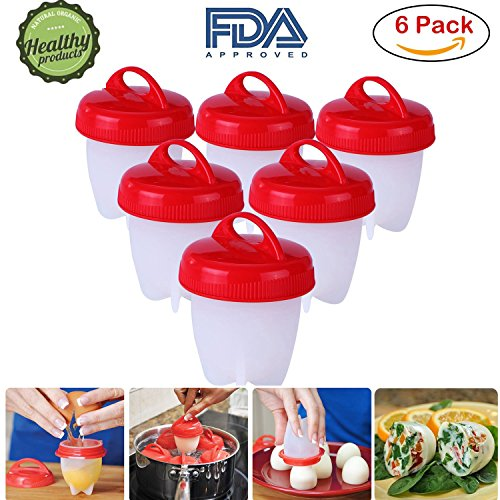 Silicone Egg Boil 6 Pack Egg Cooker Hard   Soft Maker Nonstick Silicone Eggs Boiler Cookers Bpa Free Premium Silicone Eggs Maker Without The Egg Shell By Kivora  Red